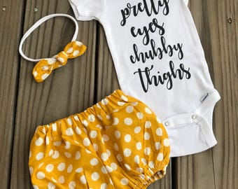 Mustard Podka Dots Coming Home Outfit, Pretty Eyes ChubbyThighs Outfit Girl Going Home Outfit Summer Fall Baby Outfits