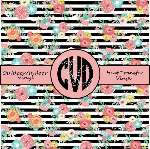 Floral Striped Patterned Vinyl // Patterned / Printed Vinyl // Outdoor and Heat Transfer Vinyl // Pattern 681