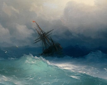 Ship on Stormy Seas by Aivazovsky Poster A3 or A4 Matt, Glossy or Art Canvas Paper
