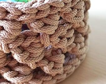 Crochet basket - Intricate cord basket - Nursery basket - Decorative basket - Toy basket - Organizer - Macrame cord basket - Storage basket