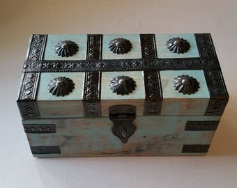 Turquoise tone wooden box with metal accents