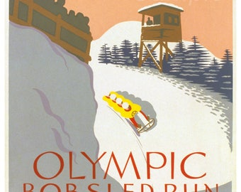 Vintage Olympic Bobsled Run Lake Placid Poster Print