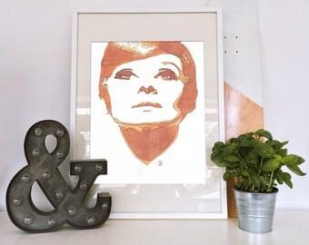 Babydoll#6 - orange watercolor on paper reproduction woman portrait
