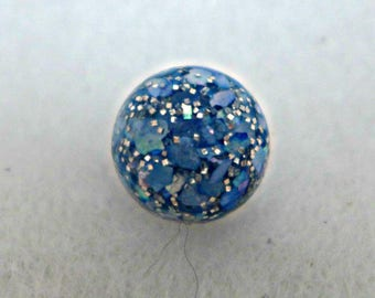 10 tiny round buttons -  blue - 10mm  - dome shape