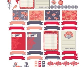 """45% Off Weekly planning stickers, """"Love Story"""" Full and half boxes."""