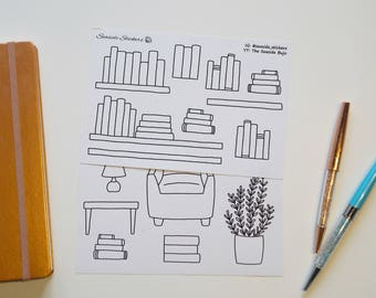 bookshelf || collections || bullet journal stickers