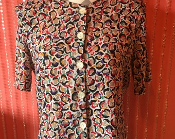 Vintage 80's/90's abstract print blouse/bright colorful blouse/button down blouse