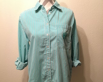 Vintage 80's/90's preppy striped long sleeved button down shirt/