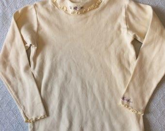 Vintage 90's little girl top/cream white Osh Kosh B'Gosh turtleneck/lettuce leaf