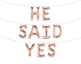HE SAID YES Rose Gold Letter Balloons | Metallic Letter Balloons | Rose Gold Party Decorations