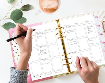 A5 Weekly Insert - Planner Printable Inserts - EC Weekly Vertical Style WO2P - Filofax A5 or  Kikki K Large -  Suits EC stickers - Undated
