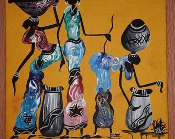 Painting African culture; women; pots; household; traditional culture; daily life
