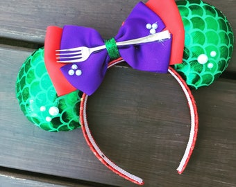 Little Mermaid Inspired Mouse Ears / Ariel Minnie Ears / Minnie Mouse Ears