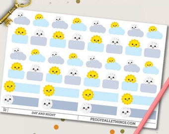 Work Shift Planner Stickers | Work Stickers | Day Shift | Night Shift | Weather Stickers