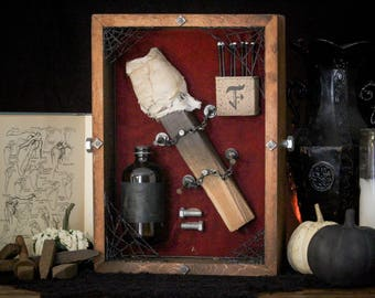 Monster Defense Halloween Decor - Frankenstein Shadow Box - Creature Decoration - Wood Torch - Matches & Fuel - Bolts - Halloween Wall Art