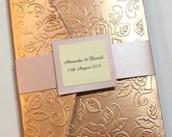 Handmade rose gold - champagne glitter - blush pink  pocket folder wedding invitations
