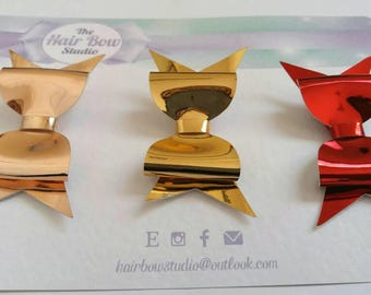 """Rose gold, gold, red, hair bows,baby headbands, hair clips, 2.5"""", mirrored, uk seller"""
