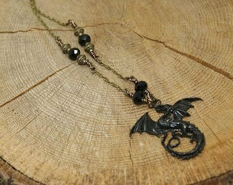 Black dragon necklace, Crystal pearls, antique bronze chain