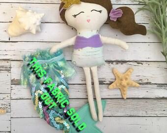 Mermaid Doll, Handmade Mermaid Doll, Mermaid Princess Doll, Mermaid Fabric Doll, Rag Doll Mermaid, Princess Doll, Baby Gift, Mermaid decor