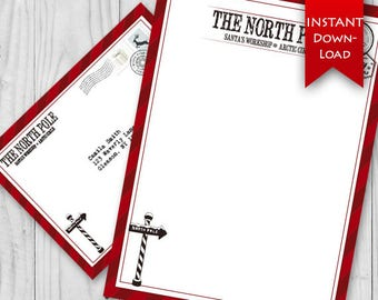 ON SALE! North Pole Stationary Set | Holiday Elf Letter | Santa Stationary | Letter from Santa - Editable {instant download}