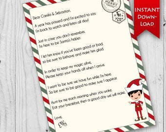 Elf Return Letter   Holiday Elf   North Pole Stationary    Editable to add name & elf name {instant download}