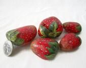 Painted rocks, painted stones, strawberry rocks, painted strawberry, stone strawberries, fruit art, garden decor, strawberry painting,fruit