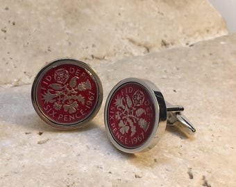 Hand enamelled red 1967 lucky sixpence coin cufflinks  - gift for him