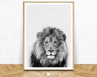 Black and White Lion Print, Lion Wall Art, Large Poster Safari, Nursery Prints, Safari Nursery, Lion Art, Digital Download, Lion Print