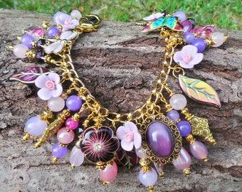 Flower Charm Bracelet, Gypsy Charm Bracelet, Garden Charm Bracelet, Summer Charm Bracelet, Moonstone Jewelry, Butterfly Charm Bracelet