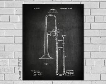 Trombone Player Gift, Trombone Teacher Gift, Trombone, Trombone Gifts, Trombone Art, Trombone Decor,  Trombone Blueprint Patent, MT681