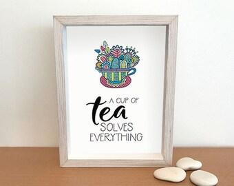 PRINTABLE Cup of Tea Wall Art  | Instant Digital Print to Download | Full Colour Original Doodle Design