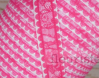 Fold Over Elastic, Foldover Elastic, Elastic By The Yard, 5/8 Elastic, Elastic, Valentine's Elastic, Printed Elastic, Hot Pink Lace Look