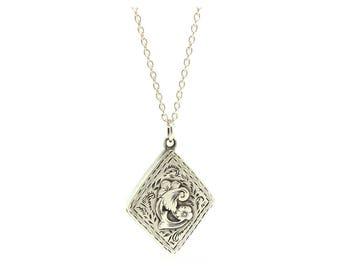 Antique Locket, 1905 Locket, Edwardian Locket, Silver Locket, Diamond Shaped Locket, Ornate Locket Necklace, Estate Locket