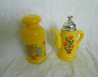 Vintage Avon Sunny Yellow Milk Can AND Teapot - Set of 2 - Avon Field Flowers Milk Can Creamery Decanter and  - Ready to Ship