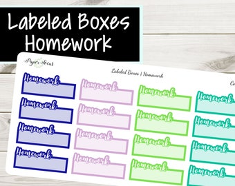 Homework Labeled Boxes | School Stickers | Planner Stickers