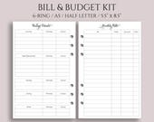 "Monthly Bills and Budget Kit Planner Inserts ~ Income, Expenses, Debt Payment Tracker ~ Half Page / A5 / 5.5"" x 8.5"" for Filofax (A5-MBB)"