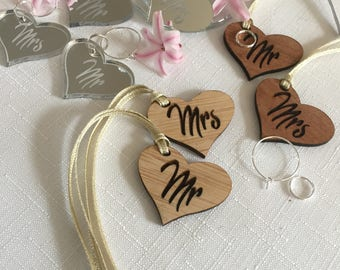 Mr and Mrs Wine Glass Charms - Champagne Glass Charms - Wedding Reception - Wedding Keepsake - Wooden Hearts - Bride and Groom Hearts