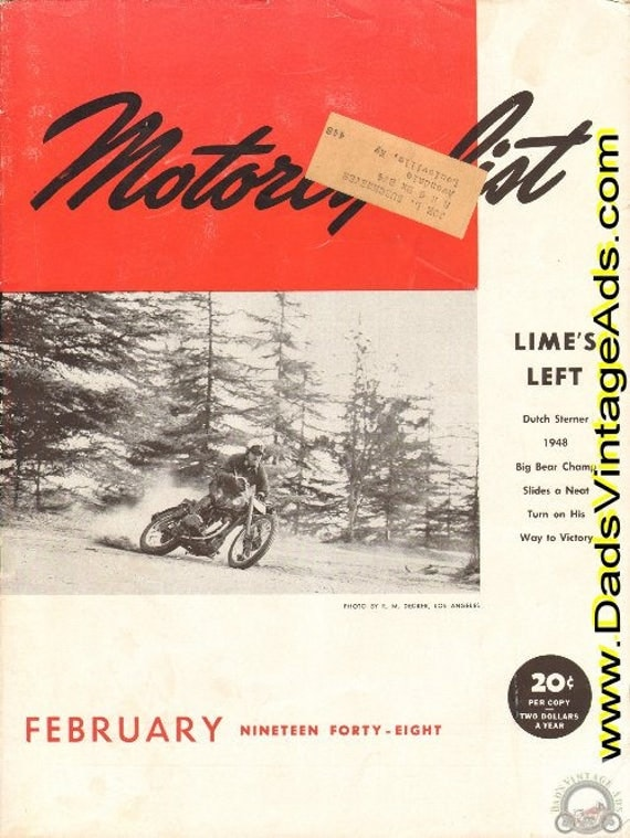 1948 February Motorcyclist Motorcycle Magazine Back Issue #4802mc