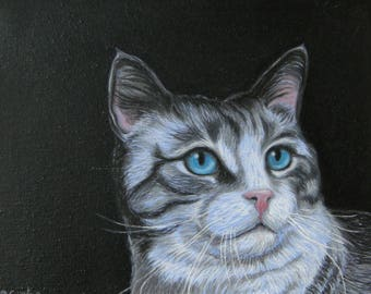 Blue Eyes-oil portrait of a beautiful cat with an intense look-cat-chat-Pet