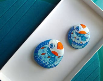painted rocks with cute little fish