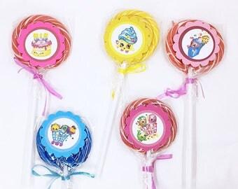 Shopkins | Lollipops Set of 10 , Dessert Table, Candy Favors, Swirl Lollipops, Fruity, Candy Bar