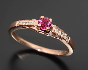 Ruby diamond ring, Ruby ring, Women ruby ring, Gold engagement ring, Ruby engagement ring, Gemstone ring, Pink stone ring, Ruby jewelry gold