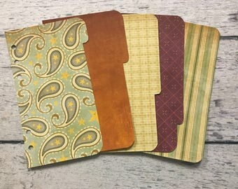 PERSONAL Sized Paisley themed Dashboard and Dividers for Filofax, Kikki K, Day Planner, Franklin Covey, Gillio, Etc