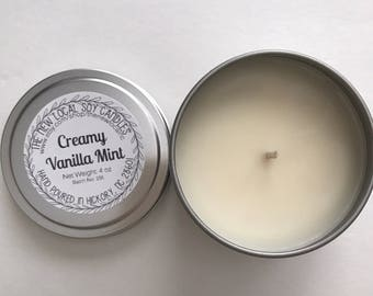 Creamy Vanilla Mint | 4 oz Scented Soy Candle Tin | Travel Tin | Fresh + Clean + Minty + Sweet
