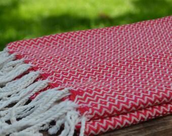 "Red Towel,Beach Towel,Spa Peshtemal,Turkish Towel,Cotton Towel,Peshtemal,Peshtemal,Towel,37""x70"""