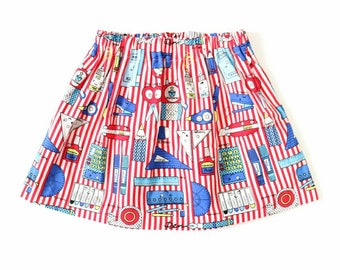 Red and white striped stationery print, sizes 0-5/6 years // girls skirt // stripey skirt/ red skirt