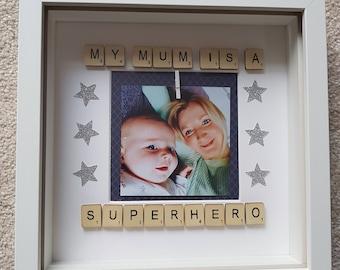 Mothers Day Frame, Scrabble Frame, Superhero Frame, Mothers Day gift, Scrabble Frame, Photo Frame, Mum Photo Frame