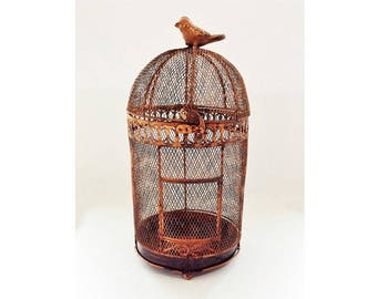Rustic Metal Birdcage with Faux Rust Finish, Vintage Candleholder or Vintage Planter