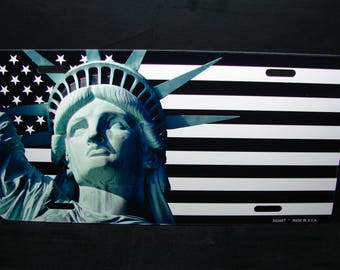 AMERICAN FLAG And Lady LIBERTY Metal License Plate Tag For Cars