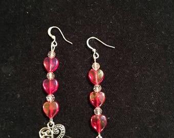 Red hearts dangle earrings